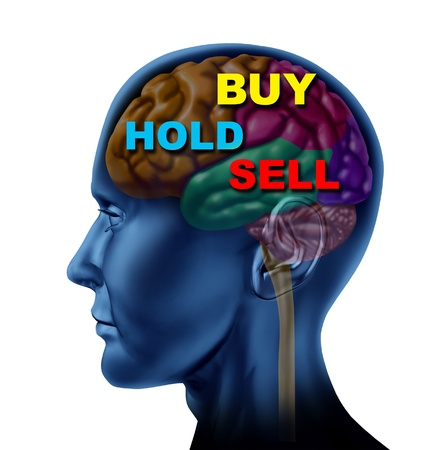 Brain financial decision to buy sell or  hold as a concept for stock market investment choice as a guidance advisor symbol isolated on white  photo