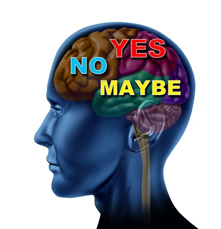maybe: Brain decision yes no maybe choice confusion and answers as a human side view head on an isolated background