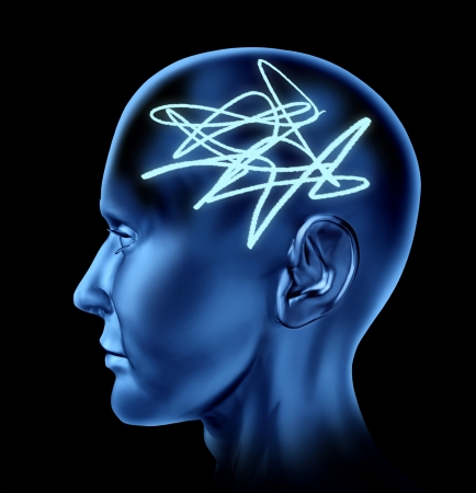 brain injury: Brain confused asa a concept for mental tangle as an icon for alziemers memory loss