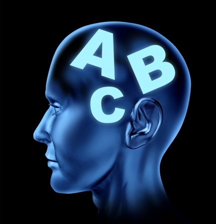 letter head: Speach and reading concept with a human head with letters as a symbol of education and learning