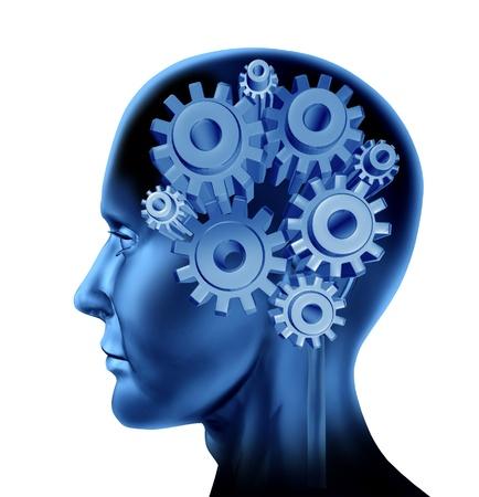 percepción: La inteligencia y la función cerebral con engranajes y dientes aislados en blanco como un concepto de inteligencia