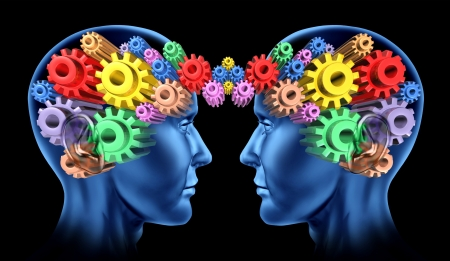cognitive: Brain head communications as a networking team work and thinking minds working together with the symbols of gears and cogs connected