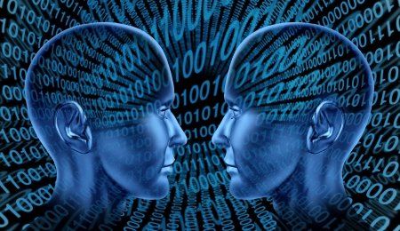 Digital exchange technology sharing binary code human head blue technological social internet innovation symbol of internet communication  Stock Photo - 14119229