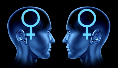 Couple sexual issues symbol as gay homosexual women lesbian female icon of same sex marriage with two human heads facing each other   photo