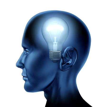 Inventive idea dicovery Brain as a mind of  intelligence isolated on white represented by a human head with a light bulb  photo