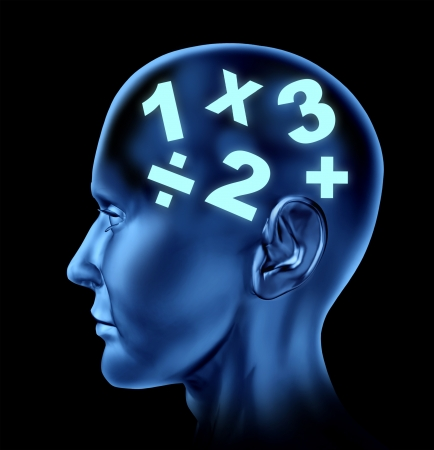 Math brain calculating mind education of numbers Stock Photo - 14119789
