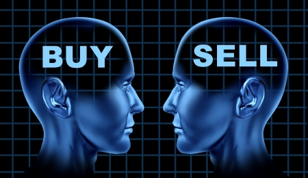 Buy and sell stock market symbol with two human heads buying and selling as a financial investing concept