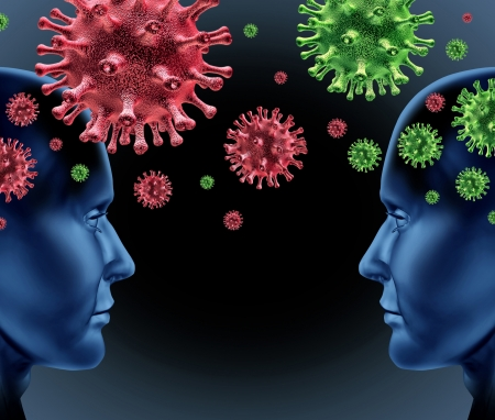 Contagious disease infection with two humans spreading germs and virus cells infecting and transfering the viral infection as a medical healthcare concept