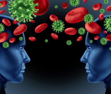 blood transfer: Blood infection transfer with human heads in a contagious relationship with virus and viral cells and red blood spreading disease and illnes  Stock Photo
