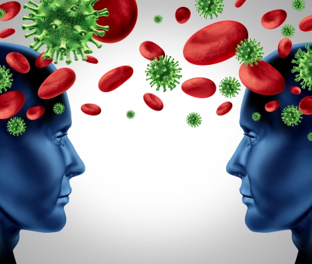 Blood infection transfer with human heads in a contagious relationship with virus and viral cells and red blood spreading disease and illness on white