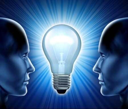 shinning light: Creative team and idea partnership representing teamwork and cooperation in the world of inventions and business innovations   Stock Photo