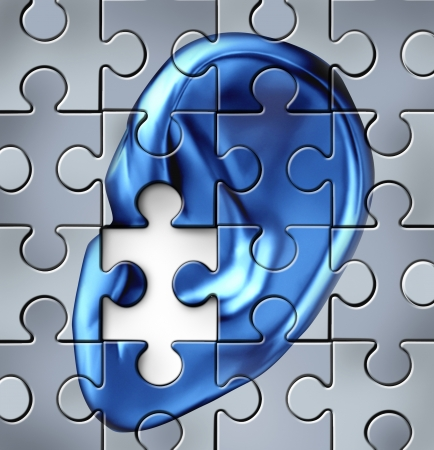 deafness: Hearing impairment and human ear symbol on a jigsaw puzzle representing a medical listening condition that results in a deafness