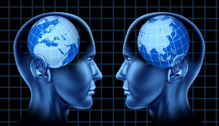 diplomacy: Europe asia trade meeting face to face international trade global brain mind intelligence diplomacy Stock Photo