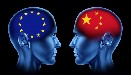 north china: Europe and China trade relations symbol represented by two faces head to head in cooperation and competition