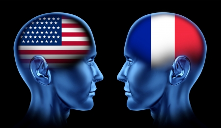 u s a: U S A and France trade relations symbol represented by two faces head to head in cooperation and competition  Stock Photo