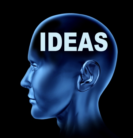 inventing: Ideas and creativity symbol represented by a human head with the word idea on the brain  Stock Photo
