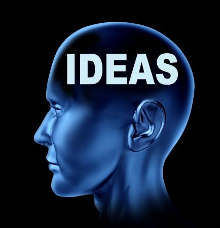 Ideeën en creativiteit symbool vertegenwoordigd door een menselijk hoofd met het woord idee op de hersenen