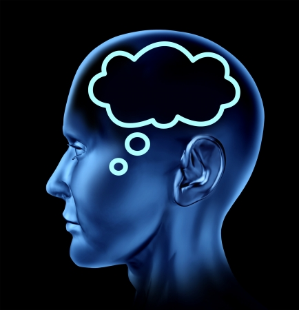 Ideas and creativity symbol represented by a human head with a symbol of a word bubble in the brain as an icon of communication  photo
