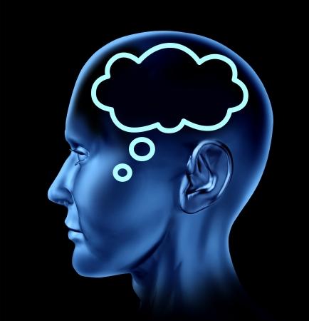 mente: Las ideas y la creatividad de s�mbolos representados por una cabeza humana con un s�mbolo de la burbuja de la palabra en el cerebro como un icono de la comunicaci�n Foto de archivo