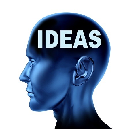inventing: Ideas and creativity symbol represented by an isolated human head with the word idea on the brain   Stock Photo