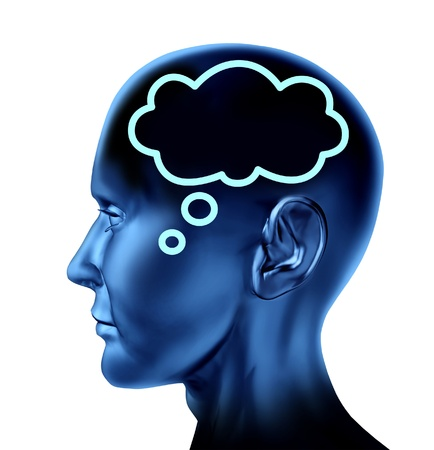 represented: Brain thought with word bubble symbol represented by an isolated human head looking forward as business symbol of communication   Stock Photo
