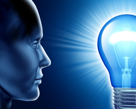 Vision of success symbol representing the human brain and the ideas from creative strength looking into a shinning lightbulb  photo