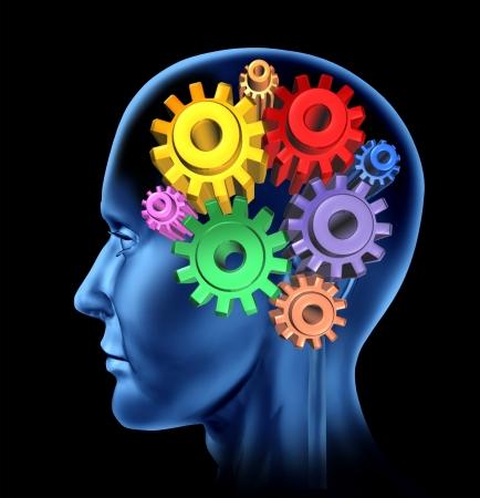 pensamiento creativo: Inteligencia de la función cerebral aislada en un fondo negro con engranajes y dientes como símbolos neurológicos de la función mental Foto de archivo