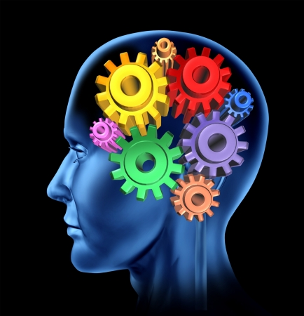 Intelligence brain function isolated on a black background with gears and cogs as neurological symbols of mental function  Stock Photo - 14119277