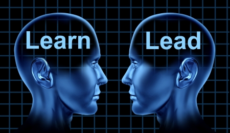 Business Training and Leadership for Education Learning Technology with to human heads facing each other