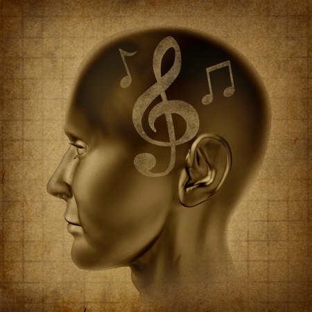 music lyrics: Música cerebro como una mente musical como un genio creativo con las notas musicales que representan el arte de la artista compositor y director Foto de archivo
