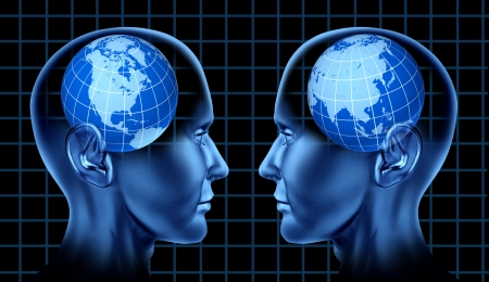 North America Asia trade and business cooperation with two human heads facing each other as partners representing the United States China and Japan and Korea exporting and importing  Stock Photo - 14119220