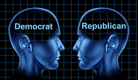 American politics symbol with democratic and republican people facing each other as campaign rivals as the vote and voting system in the united States election Stock Photo - 14119215