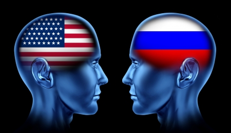 u s a: U S A and Russia trade relations symbol represented by two faces head to head in cooperation and competition