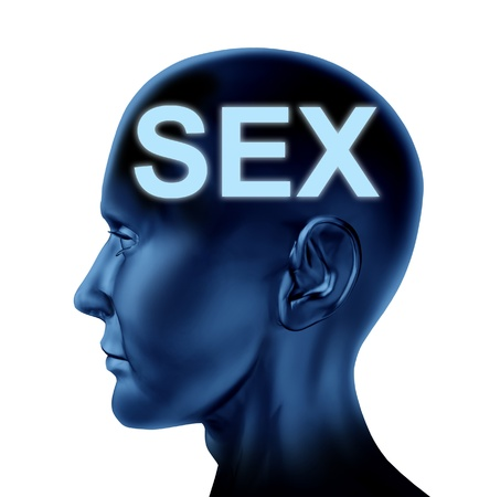Sex on the mind symbol with a blue human head representing the concept of sexuality  Stock Photo - 14119163