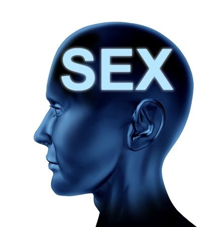 educacion sexual: Sexo en el símbolo de la mente con una cabeza humana que representa azul, el concepto de sexualidad