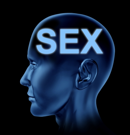 educacion sexual: Sexo en el símbolo de la mente con una cabeza humana que representa el azul, el concepto de la sexualidad en un fondo negro
