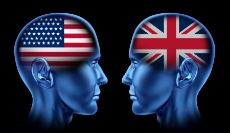 diplomacy: U S A and Britain trade relations symbol represented by two faces head to head in cooperation and competition  Stock Photo