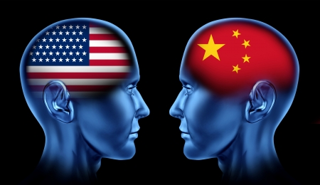 north china: U S A and China trade relations symbol represented by two faces head to head in cooperation and competition