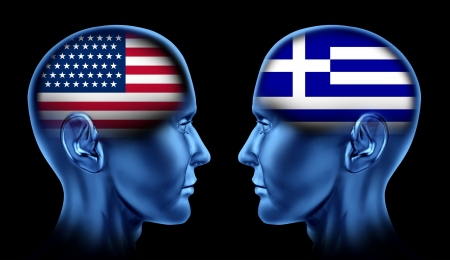 duties: U S A and Greece trade relations symbol represented by two faces head to head in cooperation and competition