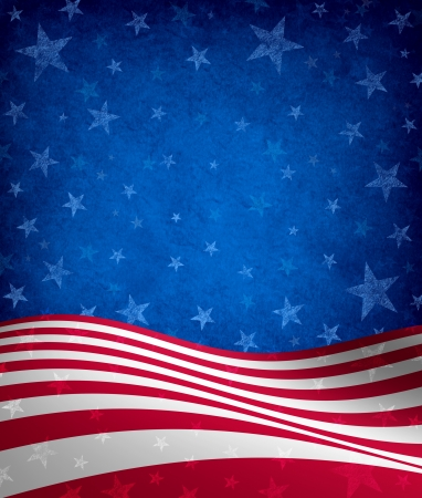 Fourth of July Background with stars and stripes celebration theme with a grunge texture as a symbol of American patriotism and culture in an election voting year. Stock Photo - 14236465