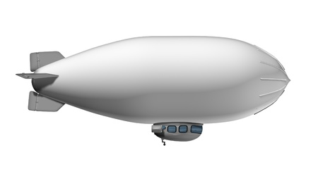 advertise: Blank Blimp flying in the air as a white commercial sign on a side view traveling to advertise a marketing message to the public  Stock Photo