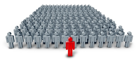 Business Group Leader symbol with a large crowd of grey worker characters being confidently lead by a red human icon as a concept of leadership guidance on a white background