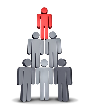 Business People on Hierarchy pyramid as a corporate symbol of teamwork and working together for financial sucess with a team of grey characters supporting the red icon leader on white  Stock Photo - 14345325
