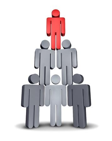 jerarquia: Gente de negocios en pirámide de la jerarquía corporativa como un símbolo del trabajo en equipo y trabajar juntos por sucess financiera con un equipo de personajes grises que apoyan el líder icono rojo sobre fondo blanco