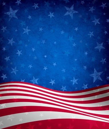 선거 투표 해에 미국의 애국심과 문화의 상징으로 grunge 텍스처와 별과 줄무늬 축하를 테마로 7 월 배경의 네 번째