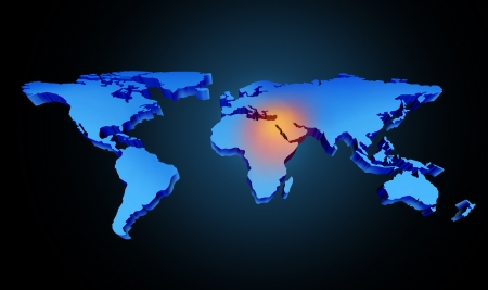 Global earth middle east crisis with a conflict zone of the persian gulf and crude oil symbol with countries as Iran Israel Egypt Libya Kuwait Syria Saudi Arabia focused with a blue map and red highlight  Imagens