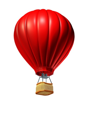 Hot air balloon rising up as a symbol of adventure and freedom on an isolated white background with a red air vehicle to promote tourism and travel  Banco de Imagens