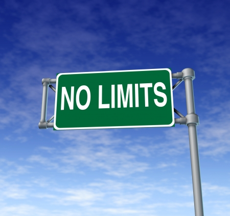 Positive attitude represented by a green outdoor no limits highway sign as a symbol of determination in business success and a concept for setting goals for financial opportunity on a clear blue sky  photo