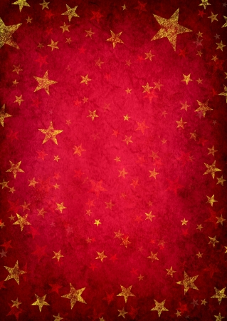 Red grunge background with golden rustic stars as a decorative design pattern as a vintage decoration as a magical fantasy holiday celebration