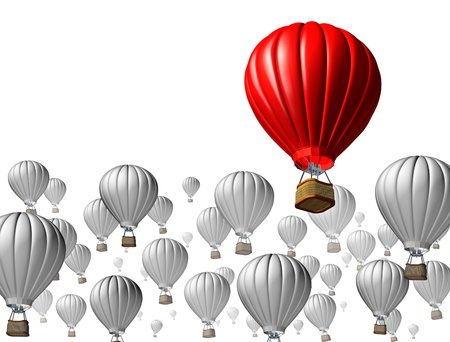 air: Best of breed concept with a red hot air balloon rising above and standing out from the rest symbolized by other grey flying vehicles on a white background as an icon of business and financial success